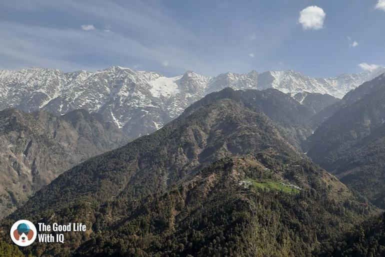 Snow-capped mountains in Naddi, McLeodganj