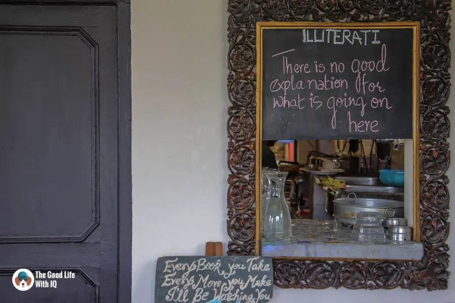Signboards at Illiterati Cafe, McLeodganj, Dharamshala