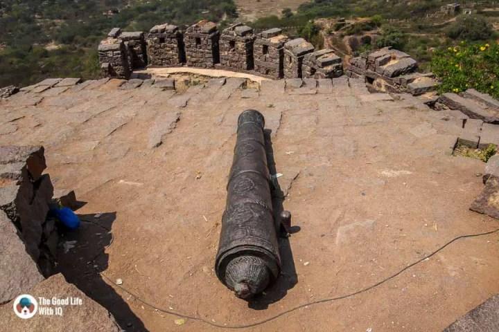 Ornate cannon (not Fateh Rahbar) - Secrets of Golconda Fort