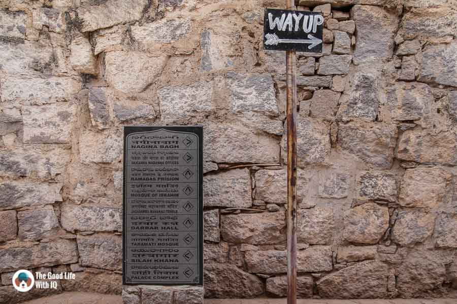 Signage, Golconda Fort