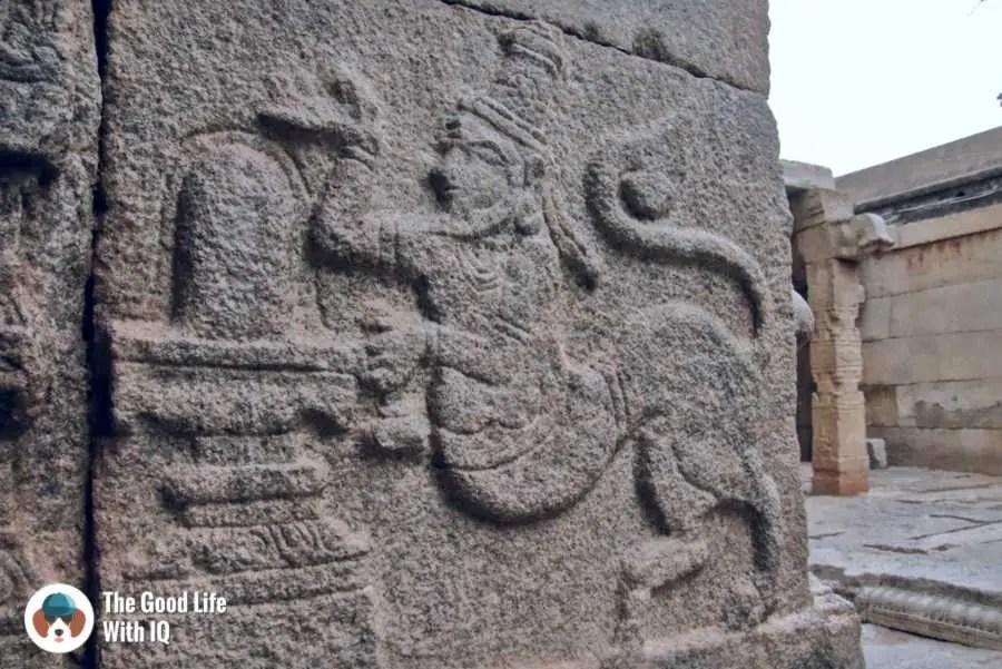 Man-lion carving - Day trip to Lepakshi