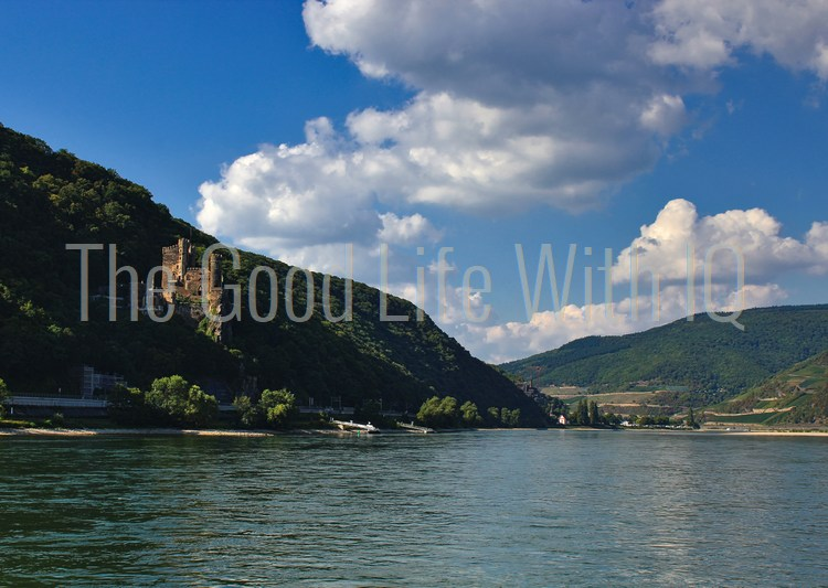 Castle on the banks of the river Rhine in Germany