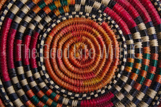 Traditional woven cane mat from Uganda, Africa
