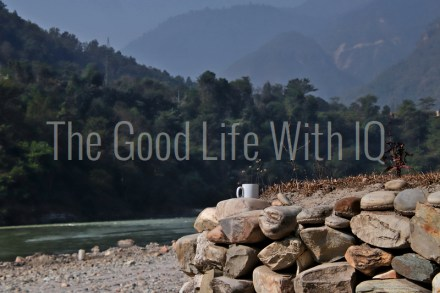 Coffee mug on the banks of the Trishuli river in Nepal