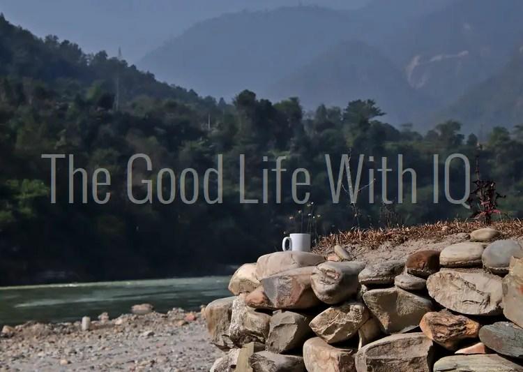 Coffee mug on the banks of the Trishuli river in Nepal