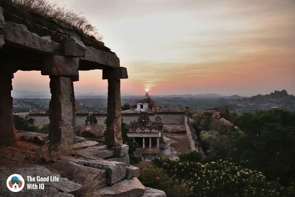 Malyavanta temple sunset - Hyderabad to Hampi road trip
