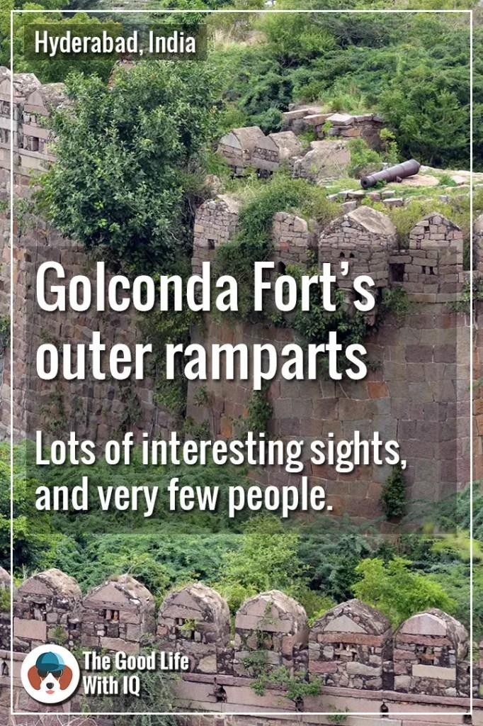 Golconda fort outer ramparts - Pinterest thumbnail
