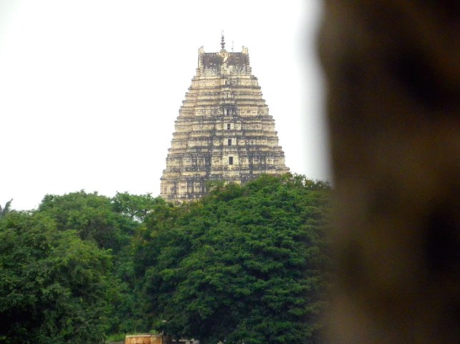 A view of the Virupaksha temple's gopuram, or gateway tower