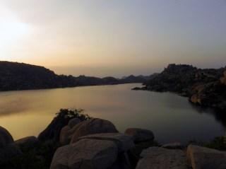 The Sanapur reservoir at sunset