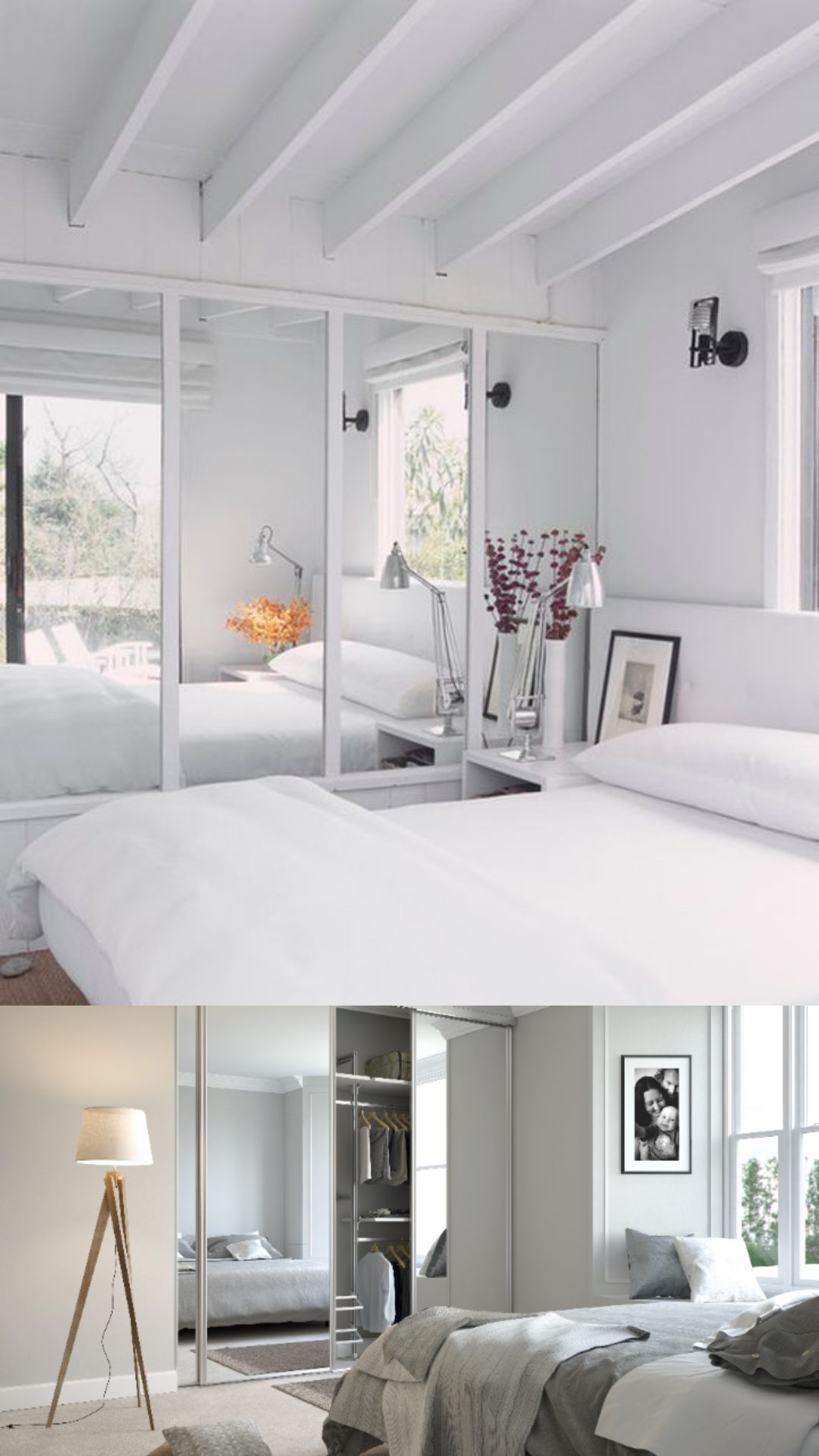 decorating white bedroom mirrored wall
