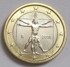 Vitruvian Man on 2 Euro coin