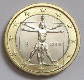 Vitruvian Man on 2 Euro coin