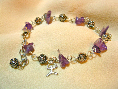 Lucky Indalo and Amethyst gemstone charm bracelet