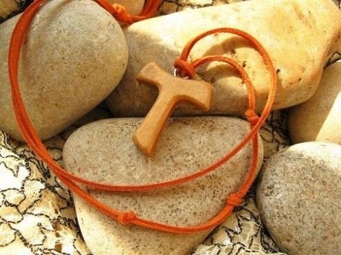 Tau cross necklace - wood