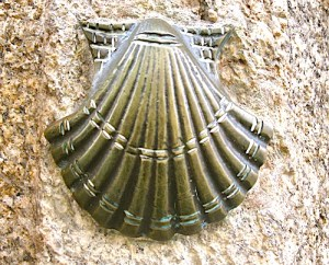 Scallop shell on wall in Spain