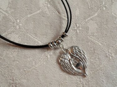 Angel wings heart necklace for protection