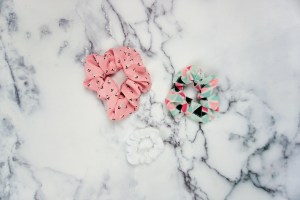 Three different scrunchies showing the sizes