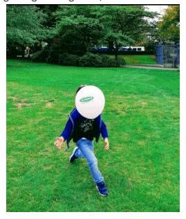 Balloon face boy