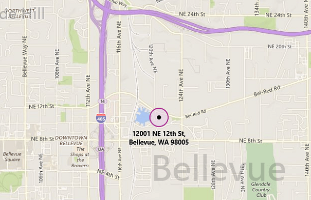 Mapped address: 12001 NE 12th Street, Bellevue, WA 98005
