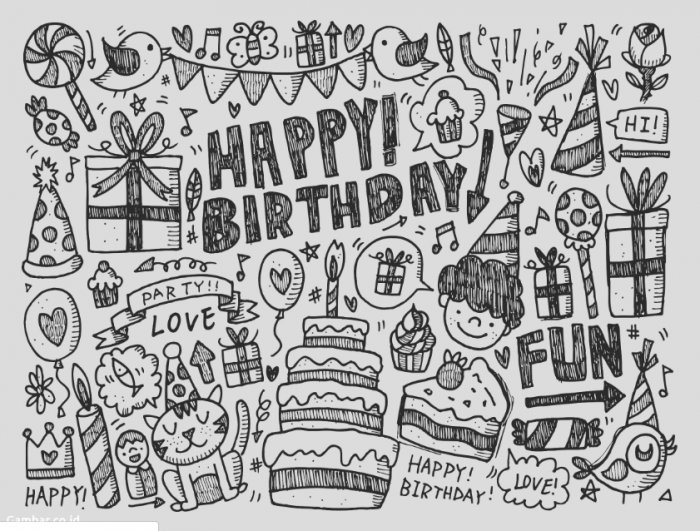 Gambar Doodle Ulang Tahun