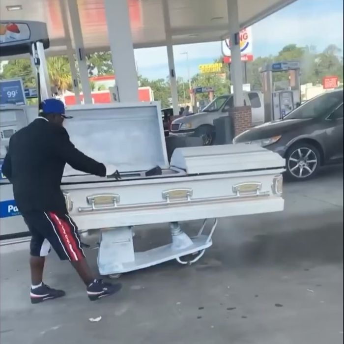 Man turns coffin into a car