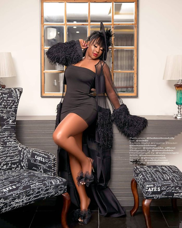 Actress Ini Edo Stuns In An All-black Outfit To Prove She's A Fashionista