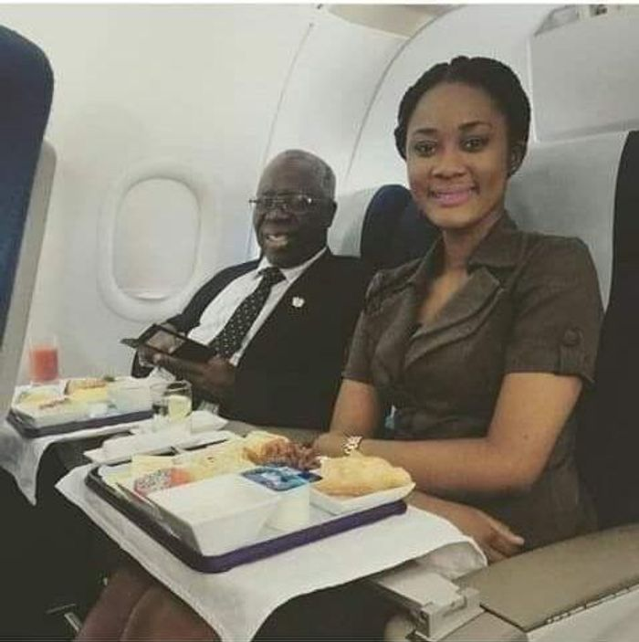 PHOTO Of 78-Year-Old Senior Minister, Osafo Marfo And Young Pretty Lady In A Pose On A Flight Hits Online In The Wake Of Kan Dapaah's Pyjamas Scandal