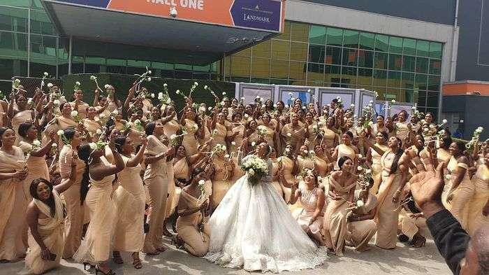 Linda Ikeji's Sister, Sandra Ikeji, Sets World Record By Marrying With 200 Bridesmaids