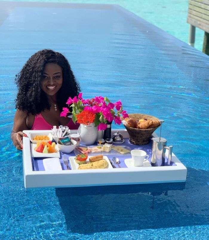 Jackie Appiah Goes Swimming In Her Super Hot Pink Bikini