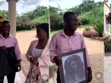 Guy Travels From Kumasi To Accra To Propose To Jackie Appiah With A Wack Portrait Of Her But Gets Bounced