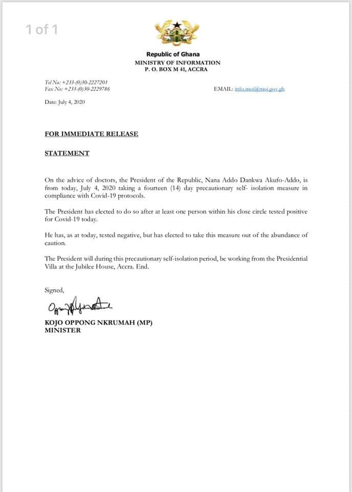 Coronavirus Chases President Akufo-Addo Into 14 Days Self-Isolation After His Close Associate Tested Positive For The Virus