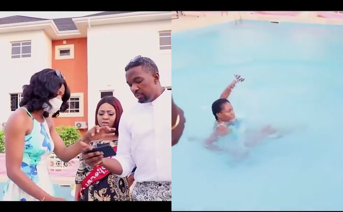 VIDEO: Regina Daniels Angrily Pushes Domestic Worker Into A Swimming Pool For Arguing With Her