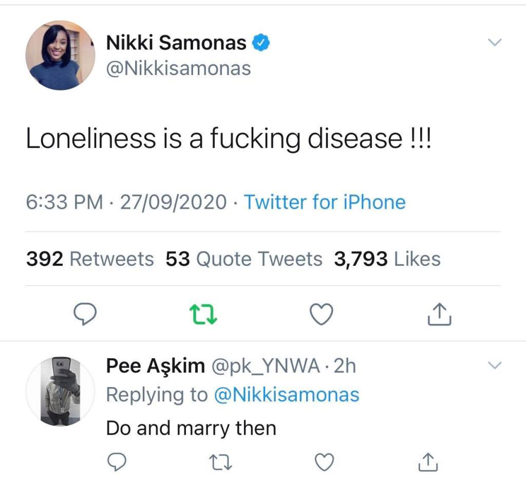 Fan Advises Nikki Samonas To Get Herself A Husband And Stop Crying About Being Lonely