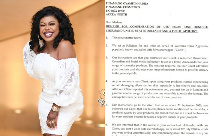Afia Schwar To Sue Pinamang For $100,000 As Damages Over Claims That Their products Have Damaged Her Skin