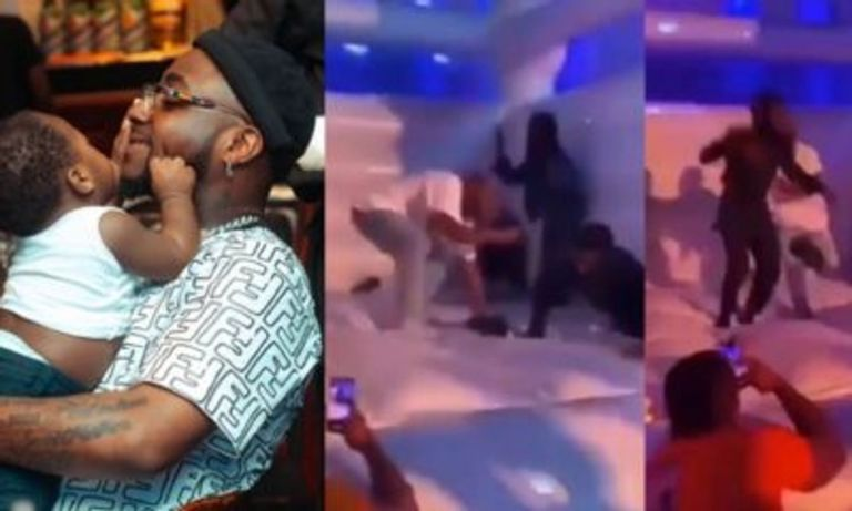VIDEO: Davido Wrestles With Man During His Son, Ifeanyi's Lavish Birthday Party