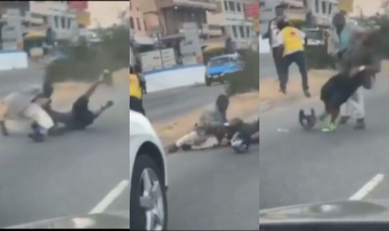 VIDEO: Two Okada Riders And Two Men Fight In The Middle Of The Road In Accra