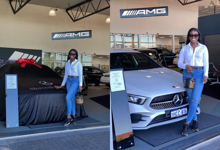 PHOTOS: Young Ghanaian Lady Buys For Herself A Brand New Mercedes Benz