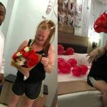 PHOTOS: Nigerian Man Celebrates As His White Sugar Mommy Accepts His Marriage Proposal