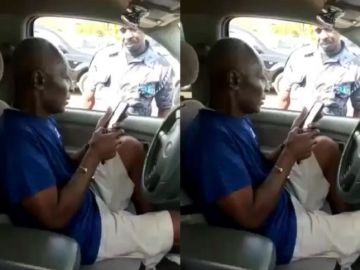 VIDEO: Ghanaian Policeman Pushes An Old Man To The Ground After He Tried Snatching His Gun
