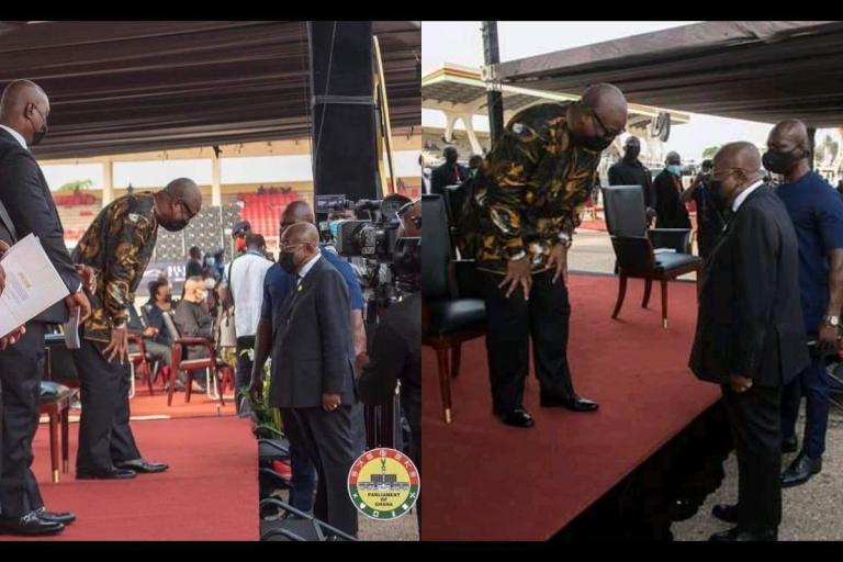 PHOTOS: John Dramani Mahama Bows To President Akufo-Addo At Jerry John Rawlings' Funeral
