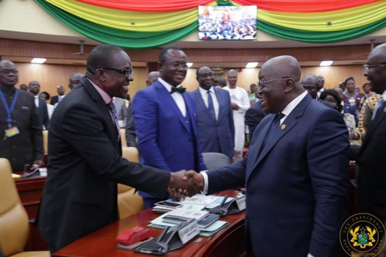 President Akufo-Addo Swallows Bitter Pill And Congratulated NDC's Alban Bagbin For Winning The Speaker Of Parliament Race