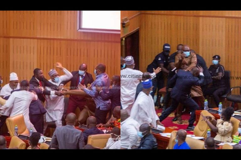 VIDEO: Ghanaian Parliamentarians Exchange Blows In Parliament Over Speaker Of Parliament Race