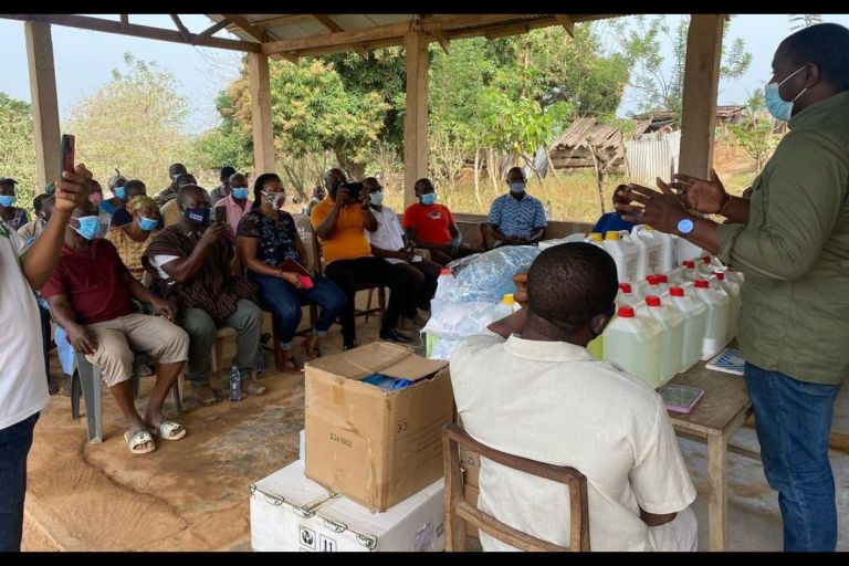 PHOTOS: John Dumelo Snubs Ayawaso West Wuogon And Donates Medical Items To A Community Clinic In His Hometown
