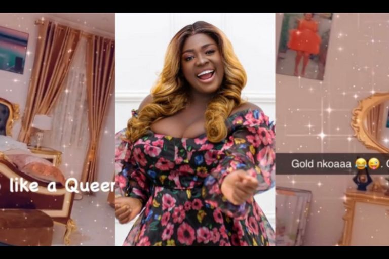 VIDEO: Tracey Boakye Puts Her Bedroom With A Fake Gold-plated Bed On Display And Claims It's 'Glass Nkoaa'