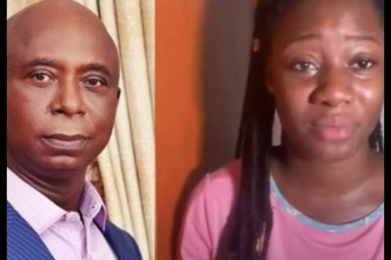 VIDEO: Teary Lady Accuses Regina Daniels' Husband, Ned Nwoko, Of Jailing Her Father With His Money And Influence Over A Piece Of Land
