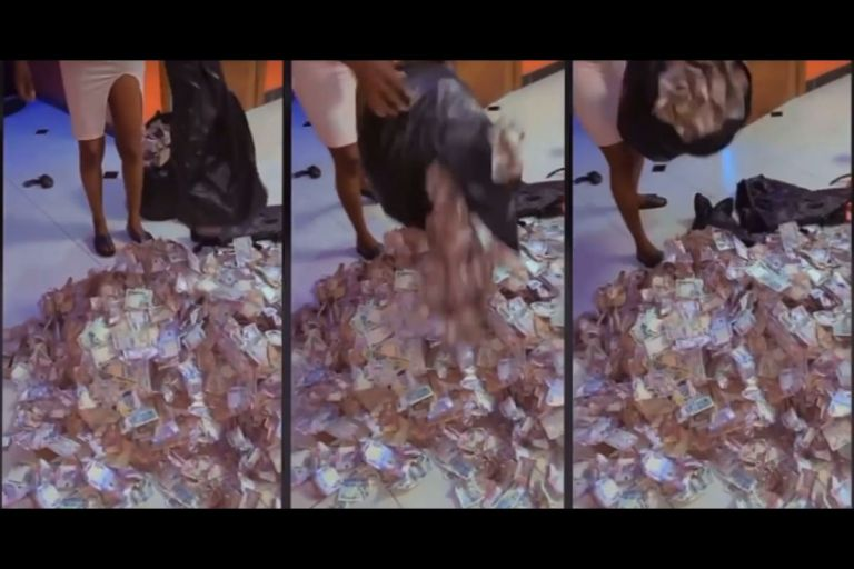 VIDEO: Nigerian Lady Shows Off Heaps Of Money She Picked At Obi Cubana's Mother's Lavish Funeral