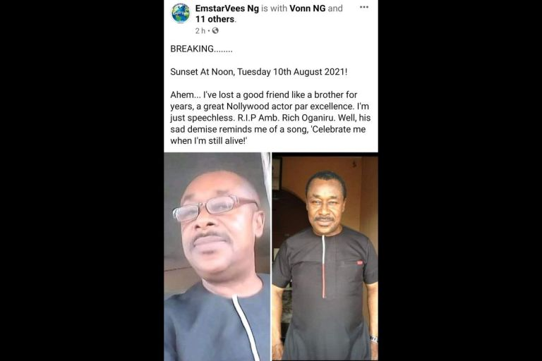 Nollywood Actor, Rich Oganiru, Confirmed Dead After Battling With Sickness For Months