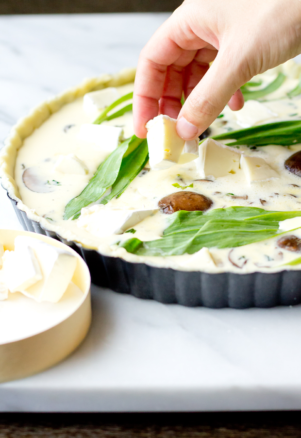 Quiche with Ramps, Mushrooms, and Brie - thegourmetgourmand.com
