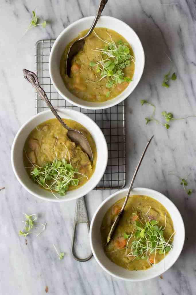Split Pea Soup in bowls.