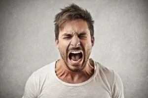 man, angry, yell, face, people